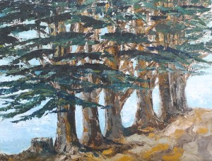 "Coastal Cypress II Oil on canvas 14"" X 18"""